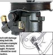 ??  ?? At best, a chain wrench will damage the pulley ribs, shortening belt life. Pictured (above right) is an extreme example of pulley damage that, obviously, dictates that a replacement one is sought. Pictured (right) is a puller design that should be used after removing the securing bolt(s).