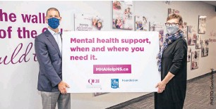 "??  ?? Chris Ronald, RBC'S Regional President, Atlantic Canada — pictured here with QEII Foundation president and CEO Susan Mullin — says ""the demand for free and accessible mental health services has never been greater."""