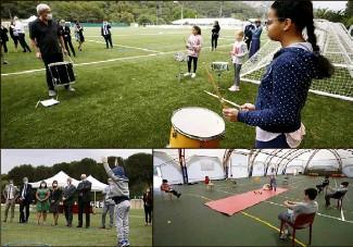 ??  ?? Les ateliers ludiques se sont enchaînés hier matin au complexe du Devens, pour les élèves de CM de l'école des Cigales. (Photos Jean-François Ottonello)