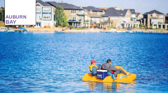 ?? PHOTOS: BROOKFIELDRESIDENTIAL ?? Auburn Bay's 17.4-hectare lake is available to all residents' association members and is perfect for paddle boarding, kayaking, canoeing, fishing and more.