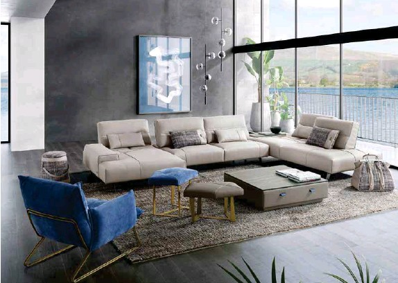 ??  ?? Above: Gamma International's Smart sectional leather sofa offers a shifting mechanism at the backrest so the seat depth can be adjusted. Also shown are the Margot armchair and various other leather items produced by Gamma.