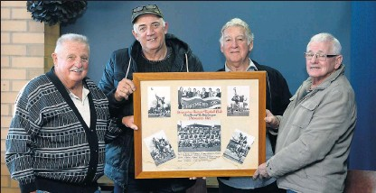 ?? Pictures: Julie Mercer ?? Bound by success: Barry Beamish, Des Campbell, John Cooper and Ross McKellar hold up a collage of photos from the 1967 season.