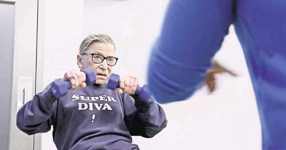 ?? MAGNOLIA PICTURES ?? Even through the pandemic, Justice Ruth Bader Ginsburg kept up the grind, continuing her squats and presses at the Supreme Court gym.