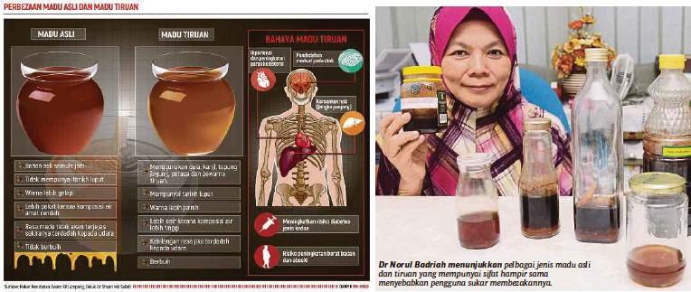 ??  ?? Dr Norul Badriah menunjukkan pelbagai jenis madu asli dan tiruan yang mempunyai sifat hampir sama menyebabkan pengguna sukar membezakannya.