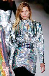 ??  ?? left and toP: Shiny foil outfits from Balmain and Maison Margiela.