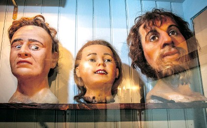 ??  ?? The Griebels are particularly fond of wax figures and heads.
