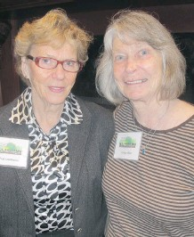 ??  ?? Fran Copithorne, left, and Carolyn Miller are invaluable volunteers that have donated more than 200 hours each at the PCC Information Desk.
