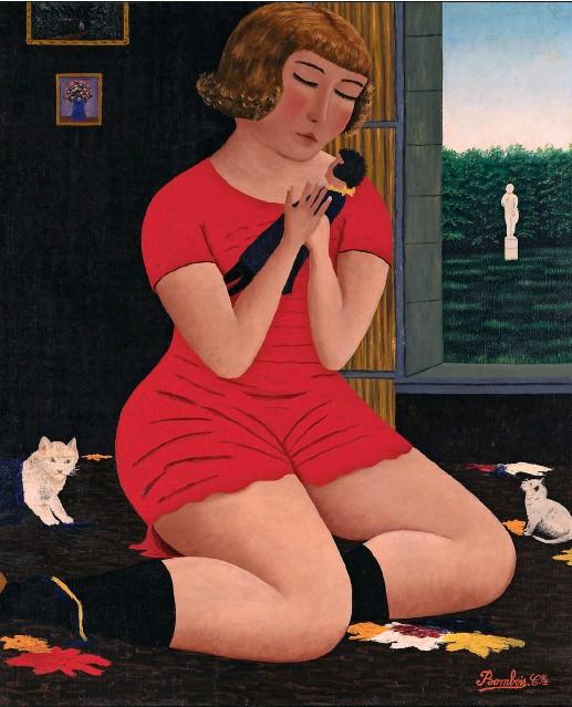 ??  ?? Inclassable Fillette à la poupée, par Camille Bombois, huile sur toile (1925). Au début des années 1920, l'ancien lutteur de cirque vend ses premiers travaux dans la rue, à Montmartre, où se tient la « foire aux croûtes ».