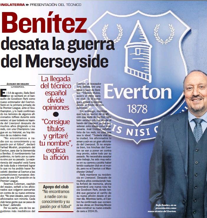 ??  ?? Rafa Benítez, en su presentación como nuevo técnico del Everton.