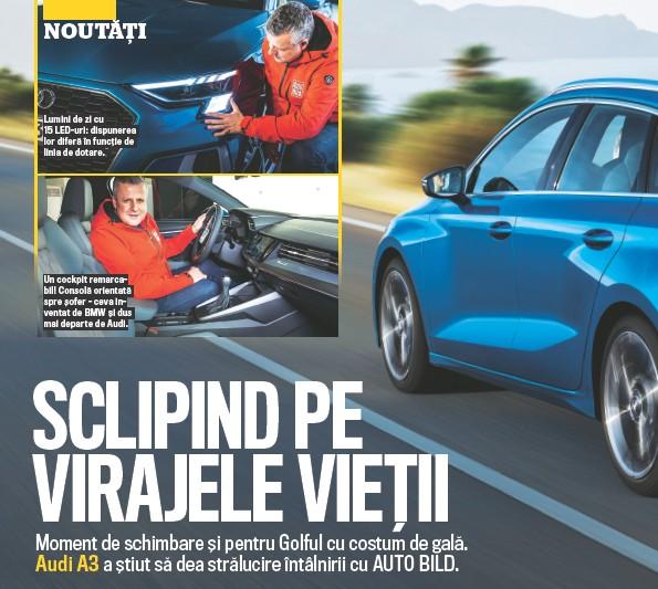 ??  ?? Lumini de zi cu 15 LED- uri: dispunerea lor diferă î n funcț ie de linia de dotare. Un cockpit remarcabil! Consolă orientată spre ș ofer - ceva inventat de BMW ș i dus mai departe de Audi.