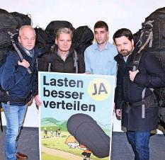 ?? Foto: Pino Covino ?? Baselbieter Gemeindepräsidenten Ende 2018 (v.l.): Alex Hein (Grellingen), Alexander Imhof (Laufen, ehemalig), Piero Grumelli (Oberdorf), Daniel Spinnler (Liestal).