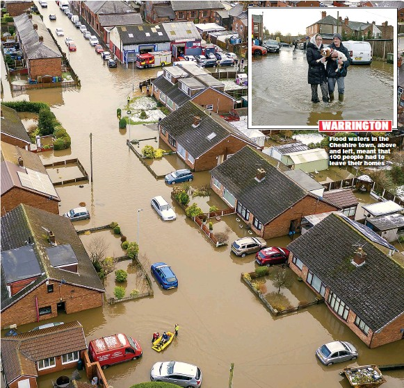 ??  ?? Flood waters in the Cheshire town, above and left, meant that 100 people had to leave their homes