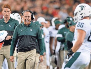 ?? ASSOCIATED PRESS ?? Michigan State coach Mark Dantonio didn't like too much of what he saw during his team's 34-10 loss to Ohio State last week.
