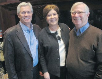 ?? PHOTOS: BILL BROOKS ?? PCC board member David Ferguson, left, PCC executive director Pam Heard and invaluable volunteer Ross Hunter at the Prostate Cancer Centre (PCC) Volunteer Appreciation Breakfast held Apr. 13 in the Founder's Room at Heritage Park. Hunter was honoured...