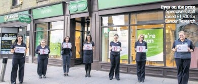 ??  ?? Eyes on the prize Specsavers staff raised £1,500 for Cancer Research