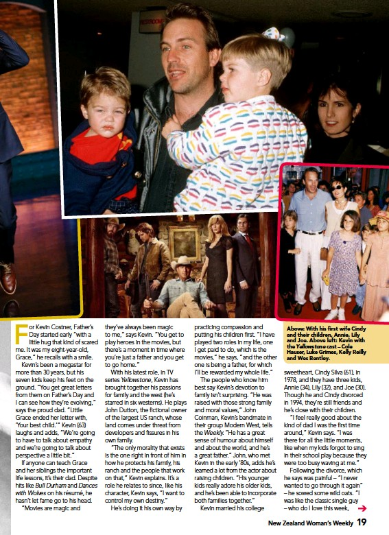 ??  ?? Above: With his first wife Cindy and their children, Annie, Lily and Joe. Above left: Kevin with the Yellowstone cast – Cole Hauser, Luke Grimes, Kelly Reilly and Wes Bentley.