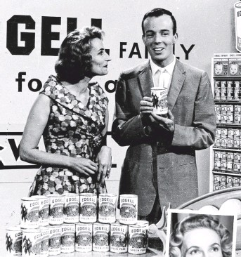 ??  ?? TV TIMES: Joan Greenway, inset, with Kevin Crease during a promotion on Adelaide Tonight in the early 1960s.