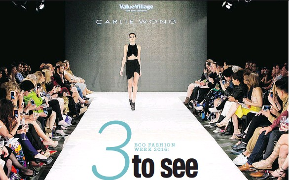 ?? PETER JENSEN ?? A model wears Carlie Wong on the runway of Eco Fashion Week in Vancouver.