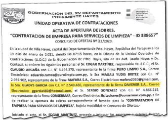 ??  ?? Acta de apertura de ofertas de la Gobernación de Presidente Hayes del 21 de enero pasado, donde consta que Gladys Ramona García Bogarín acudió en representación de la empresa.