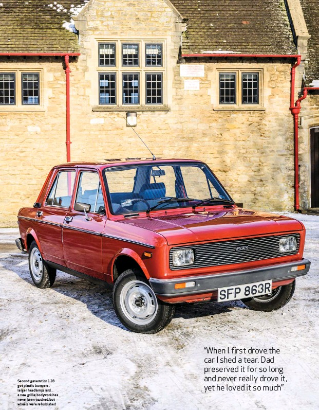 ??  ?? Second-generation 128 got plastic bumpers, larger headlamps and a new grille; bodywork has never been touched, but wheels were refurbished