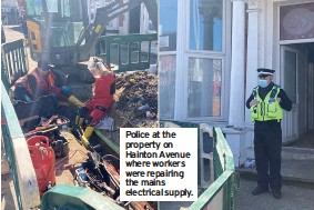??  ?? Police at the property on Hainton Avenue where workers were repairing the mains electrical supply.