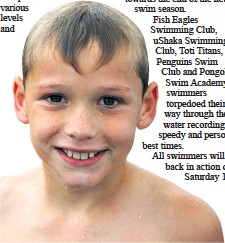 ??  ?? Keanu Diedericks of Fish Eagles Swimming Club finished the 100m butterfly race in 2.26.56