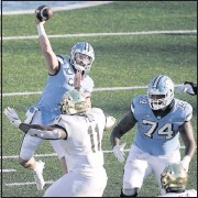?? THE ASSOCIATED PRESS ?? North Carolina quarterback SamHowell led a comeback froma 21- point, third- quarter deficit in awin overWake Forest. His biggest test awaitswith No. 2 Notre Dame.