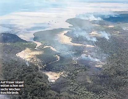??  ?? Auf Fraser Island wüten schon seit sechs Wochen Buschbrände.