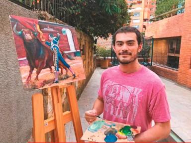 ??  ?? El cuadro Pase de pecho a un Mondoñedo, fue la contribución del joven pintor Cayetano Sanz de Santamaría al festival promovido por su padre.