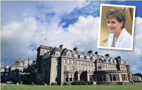 ??  ?? Rest and relaxation The Gleneagles Hotel has been praised by Nicola Sturgeon (inset) for the initiative