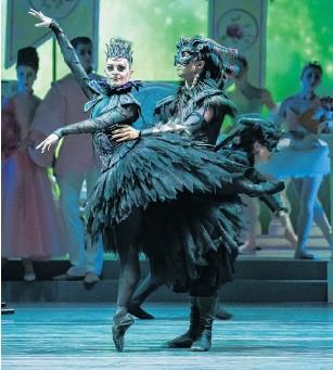 ?? PHOTOS: STEPHEN A'COURT. ?? Dark queen . . . Kirby Selchow as Carabosse and Paul Mathews as Morfran.