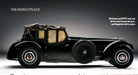 ??  ?? Bonhams said T57S was one of the most important prewar Bugattis sold in years