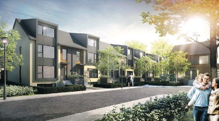 ?? ARTIST'S RENDERINGS COURTESY OF LE QUATRIÈME ?? Le Quatrième's townhouses are part of the Espace MV development's mixed housing on an exclusive cul-de-sac in Dorval. The 39 townhouses in this latest instalment will be built in five phases.