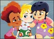 "?? Warner Bros. Animation ?? LAUREL EMORY voices the 7-year-old girl, center, based on Ellen DeGeneres in the series ""Little Ellen."""