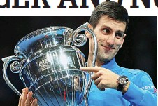 ?? GETTY IM­AGES ?? Peer­less: Djokovic with the ATP world no 1 award