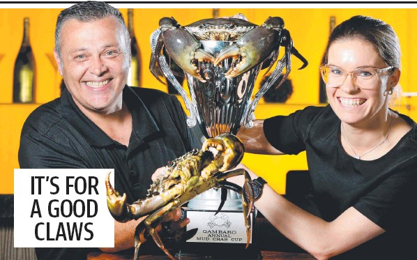 ??  ?? Frank Gambaro with Renea Roberts, ready for Sunday's Mud Crab Cup at Gambaro's. Picture: Steve Pohlner