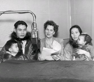 ??  ?? Top Left: Claire Wallace interviews Herbert Anungazuk, Toby Anungazuk, Martha Anungazuk, and Nellie Anungazuk. The family lived in Wales, Alaska, the northernmost village in North America. Top Right: Martha Bowes. Bottom Right: Michelle Tisseyre on her radio debut at the Canadian Broadcasting Corporation.