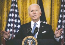 ?? BILL O'LEARY/THE WASHINGTON POST ?? President Biden lays out the next steps in the effort to get more Americans vaccinated in remarks at the White House.
