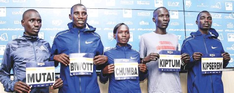 ?? Cour­tesy: Organiser ?? ■ Kenya's Abra­ham Kip­tum and Bahrain's Eu­nice Chumba Che­bichii lead a strong field of run­ners in the men's and women's races at the in­au­gu­ral Ad­noc Abu Dhabi Marathon, to be held in the cap­i­tal to­mor­row