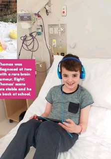 ??  ?? Thomas was diagnosed at two with a rare brain tumour. Right: Thomas' scans are stable and he is back at school.