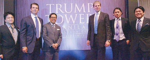??  ?? Two families, one vision: This newest addition to the illustrious roster of Trump-branded developments is the first to be erected in Asia in this decade — Trump Tower Manila will be delivered by top real estate firm Century Properties Group, Inc. in 2016: Jigger Antonio, Don Trump Jr., Century Properties chairman Ambassador Joey Antonio, Eric Trump, Robbie Antonio, and Marco Antonio.