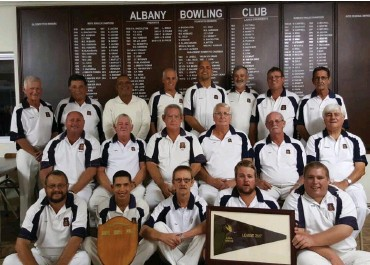 ?? Photo: Supplied ?? The Albany Bowling Club winning teams included: Back row Anton Willows, AA (Adcianos Altichiero), Allie Daniels, Andre van Reenen, Mario Agnew, Billy Krige, Peter Heynes, Gary Everton Middle row: Bresby du Preez, Deon Fourie, Clive Bartlett, Stan Long,...