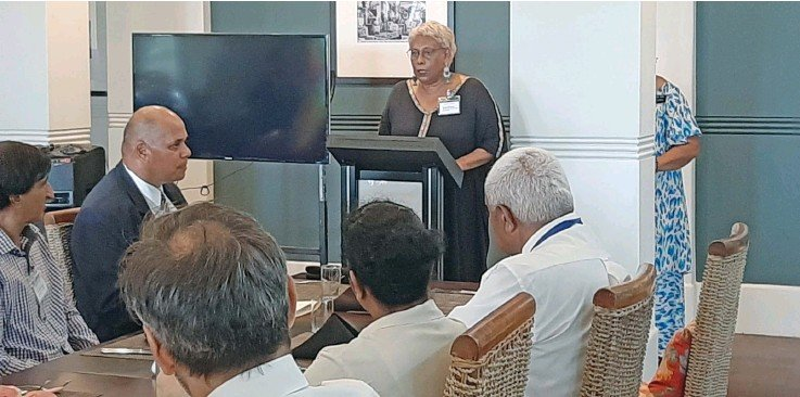 ?? Photo: Shreeya Verma ?? University of Fiji Acting Vice-Chancellor Professor Shaista Shameem speaking to delegates at the International Law and Religion Symposium at the Grand Pacific Hotel on November 27, 2020.