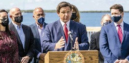 ?? DANIEL A. VARELA dvarela@miamiherald.com ?? Florida Gov. Ron DeSantis, speaking at a news conference in Key Largo on Friday, said: 'If you look at a place like Hard Rock Stadium, they do a thousand a day. We can do two to three thousand a day if we had more vaccine.'