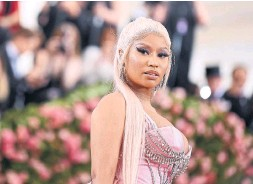 ?? GETTY IMAGES FILE PHOTO ?? Nicki Minaj skipped Monday's Met Gala, which she has attended in the past, because it had a condition of entry: Attendees must have been vaccinated.