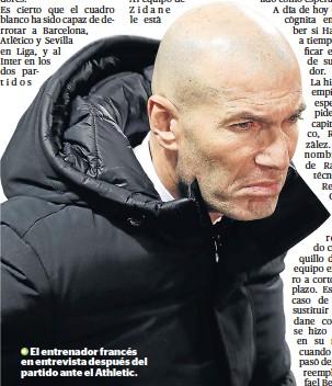 ??  ?? El entrenador francés en entrevista después del partido ante el Athletic.