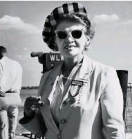 ??  ?? Scott remained interested in aviation throughout her life. In 1954 she attended the National Air Races— wearing her Early Bird checkered cap.