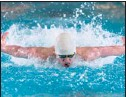 ??  ?? Crown Point's Joey Karczewski took third in the 100 butterfly.