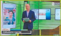 ??  ?? EN ACCIÓN. Además de comentar partidos, conduce el programa Historias de El Gráfico. Junto con Gabriel Anello y Diego Latorre, en Radio Mitre.