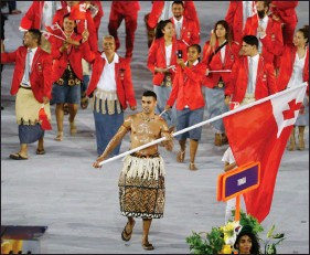 ?? REUTERS ?? The Tongan team is seen at the opening ceremony of the 2016 Rio Olympics in Rio de Janeiro, Brazil, on 5 August 2016.